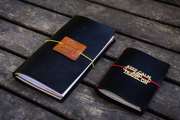 Traveler's Notebook Leather Cover-Black-Galen Leather
