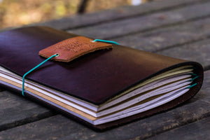 Traveler's Notebook Leather Cover-Dark Brown-Galen Leather