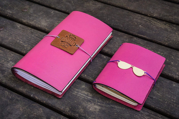 Traveler's Notebook Leather Cover-Pink-Galen Leather
