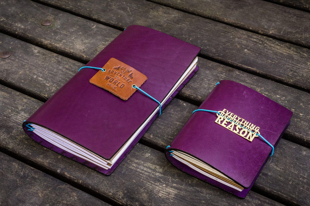 Traveler's Notebook Leather Cover-Purple-Galen Leather