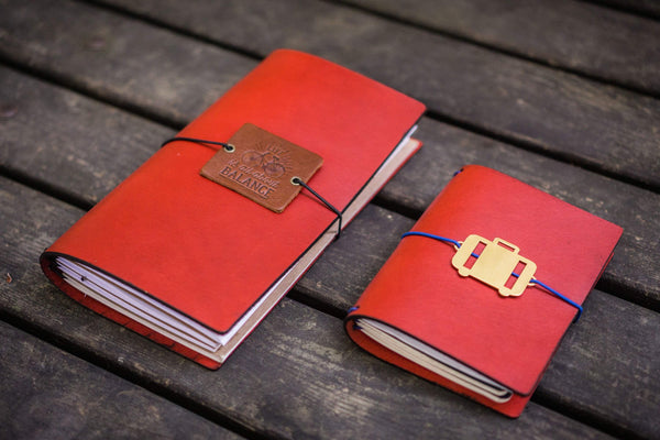 Traveler's Notebook Leather Cover-Red- A5 - Regular - Passport - Pocket Sizes