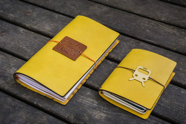 Traveler's Notebook Leather Cover-Yellow-Galen Leather