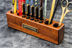Wood Desk Organizer - Pen and Tool Holder - Mahogany-Galen Leather