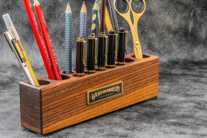 Wood Desk Organizer - Pen and Tool Holder - Walnut-Galen Leather