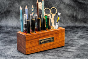 Wood Desk Organizer - Pen Holder - Mahogany-Galen Leather