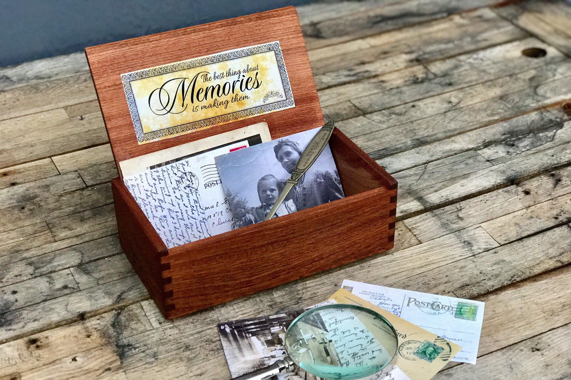 Wood Memory Box-Galen Leather
