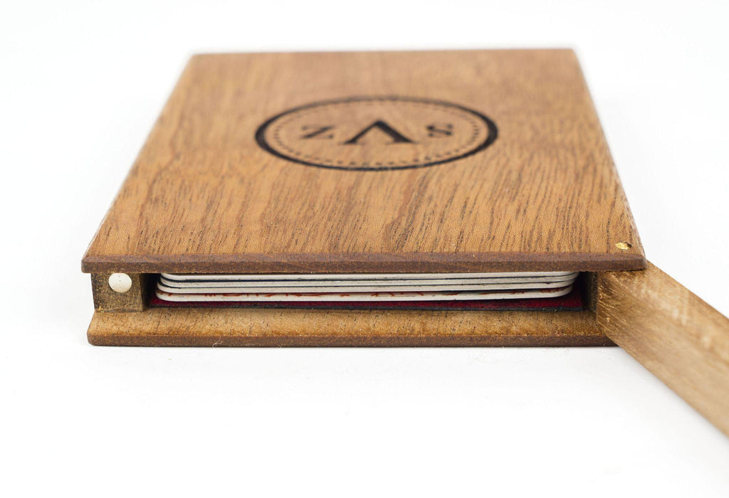 Personalized Mahogany Wooden Business Card Holder - Galen Leather
