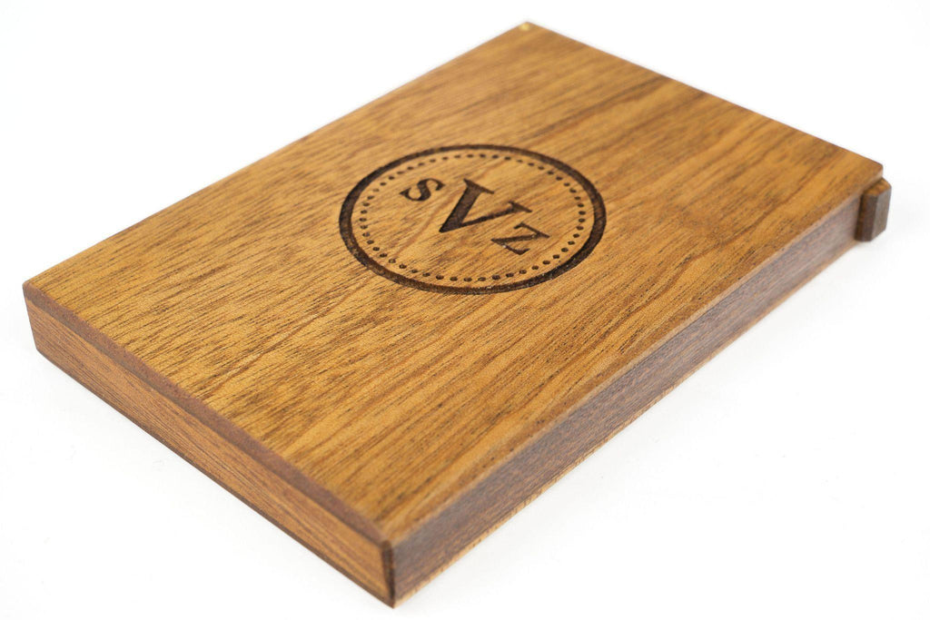 Personalized Mahogany Wood Business Card Holder - Galen Leather