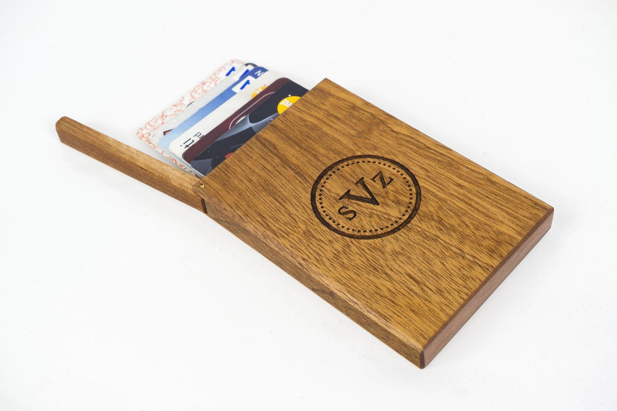 Wooden Business Card Holder - Mahogany-Galen Leather