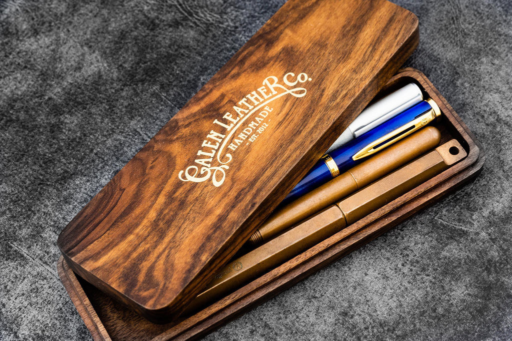 Wooden Pen Case-Galen Leather