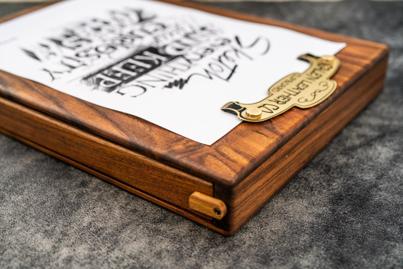 Wooden Sketchbox - Walnut-Galen Leather