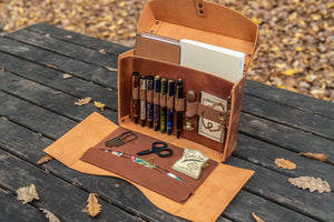 Writer's Medic Bag - Crazy Horse Tan-Galen Leather