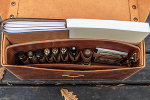 Handmade Leather Writing Kit in Brown