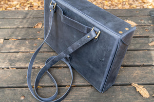 Writer's Medic Bag - XLarge Crazy Horse Navy Blue-Galen Leather