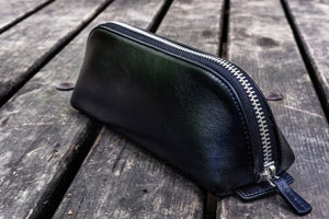 XLarge Zipper Leather Pencil Case - Black-Galen Leather