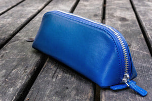 XLarge Zipper Leather Pencil Case - Blue-Galen Leather