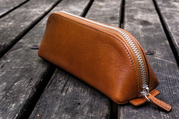 XLarge Zipper Leather Pencil Case - Brown-Galen Leather
