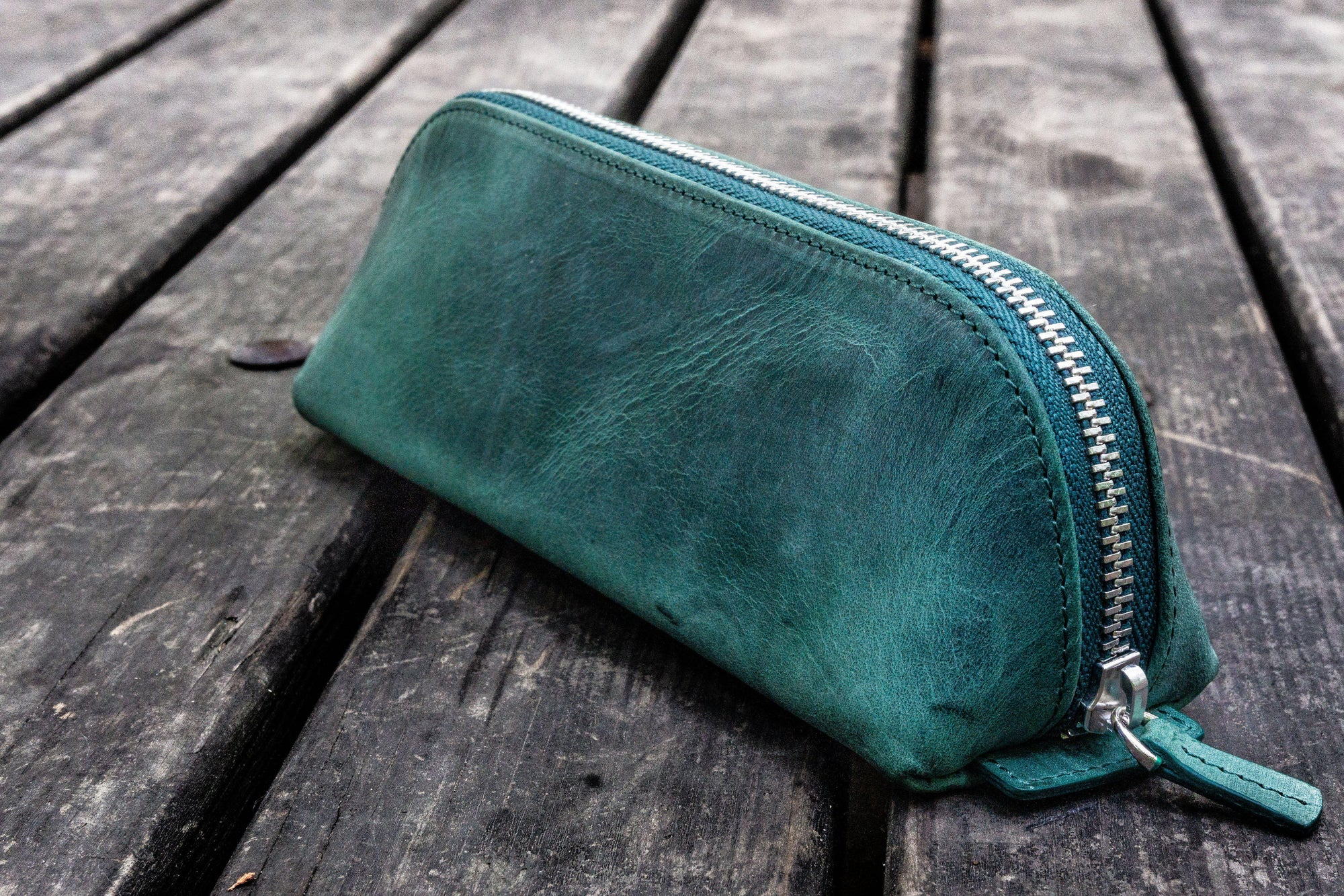 XLarge Zipper Leather Pencil Case - Crazy Horse Forest Green-Galen Leather