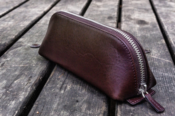 XLarge Zipper Leather Pencil Case - Dark Brown-Galen Leather
