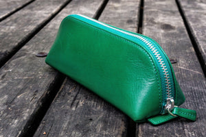 XLarge Zipper Leather Pencil Case - Green-Galen Leather