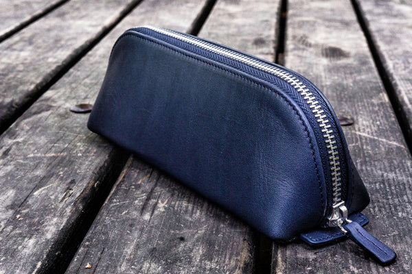 XLarge Zipper Leather Pencil Case - Navy Blue-Galen Leather