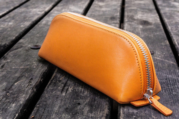 XLarge Zipper Leather Pencil Case - Orange-Galen Leather