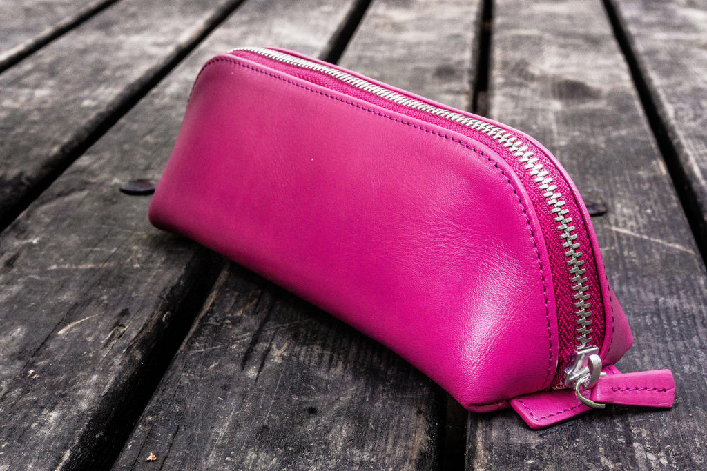 XLarge Zipper Leather Pencil Case - Pink-Galen Leather