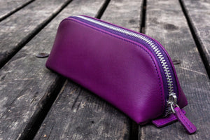XLarge Zipper Leather Pencil Case - Purple-Galen Leather
