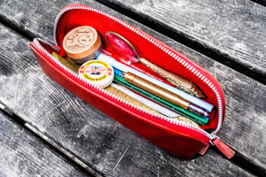 XLarge Zipper Leather Pencil Case - Red-Galen Leather