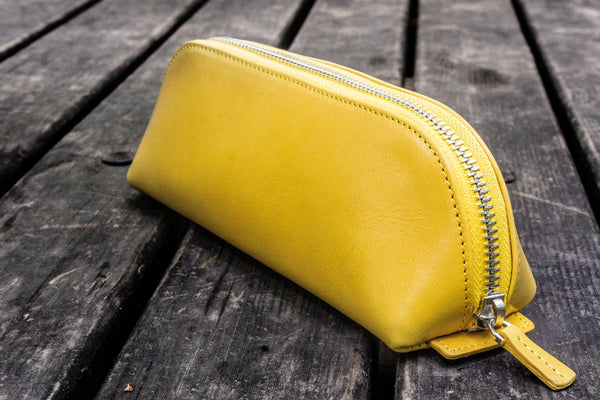 XLarge Zipper Leather Pencil Case - Yellow-Galen Leather