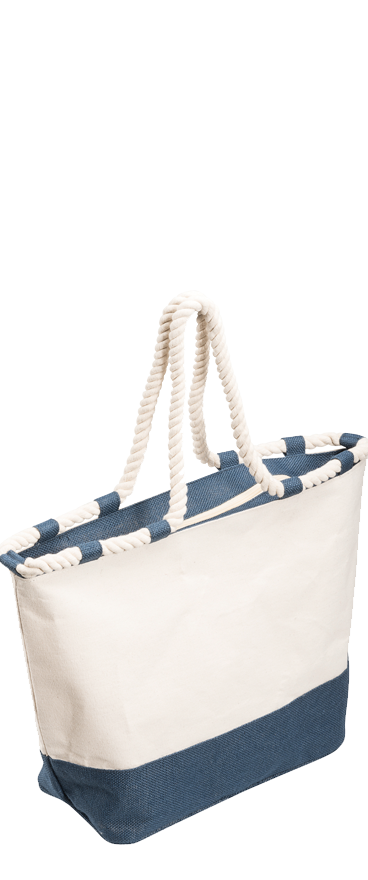 Zippered Canvas Tote Bag Blue
