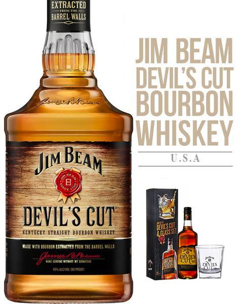 Jim Beam Devil's Cut Bourbon 700ML & Glass Gift Box