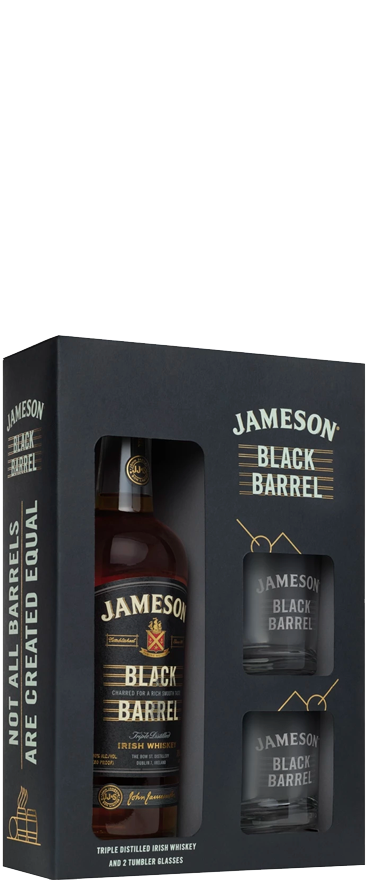 Jameson Black Barrel Irish Whiskey 700ml & Two Glass Gift Pack