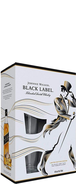 Johnnie Walker Black Label Whiskey 700ml & 2 Glass Gift Pack