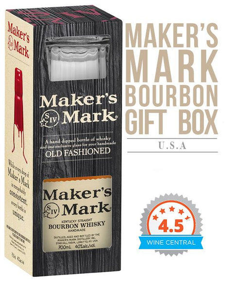 Maker's Mark Bourbon Whisky Glass Gift Box (700ml)