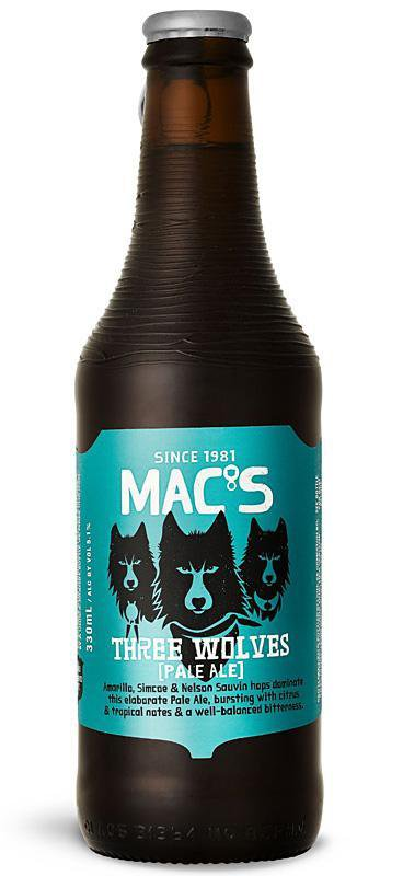 6 Bottles of Mac's Three Wolves Pale Ale (6x 330ml)