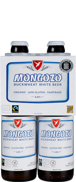 4 Bottles of Mongozo Buckwheat White Beer (4x 330ml Bottles)