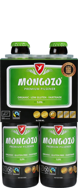 4 Bottles of Mongozo Premium Pilsner (4x 330ml Bottles)