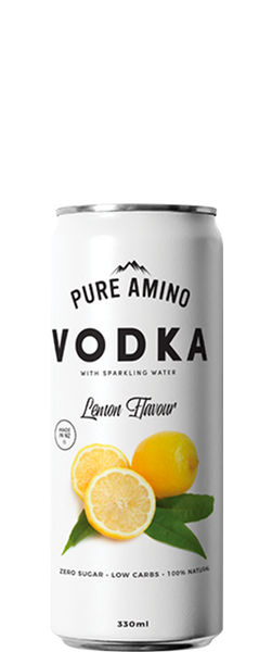 6 Cans of Pure Amino Vodka Lemon (6x 330ml Cans)