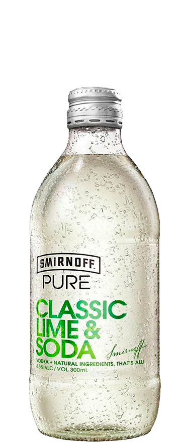 Smirnoff Pure Classic Lime & Soda (4x 330ml Bottles)