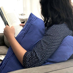 The Shell Pillow blue used while reading