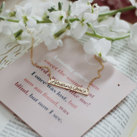 Amazing Grace Bar Necklace