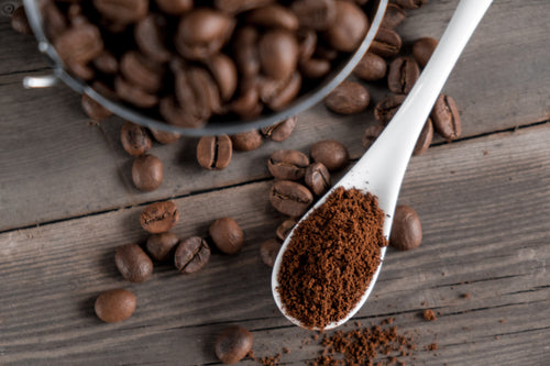 Coffea robusta powder with beans