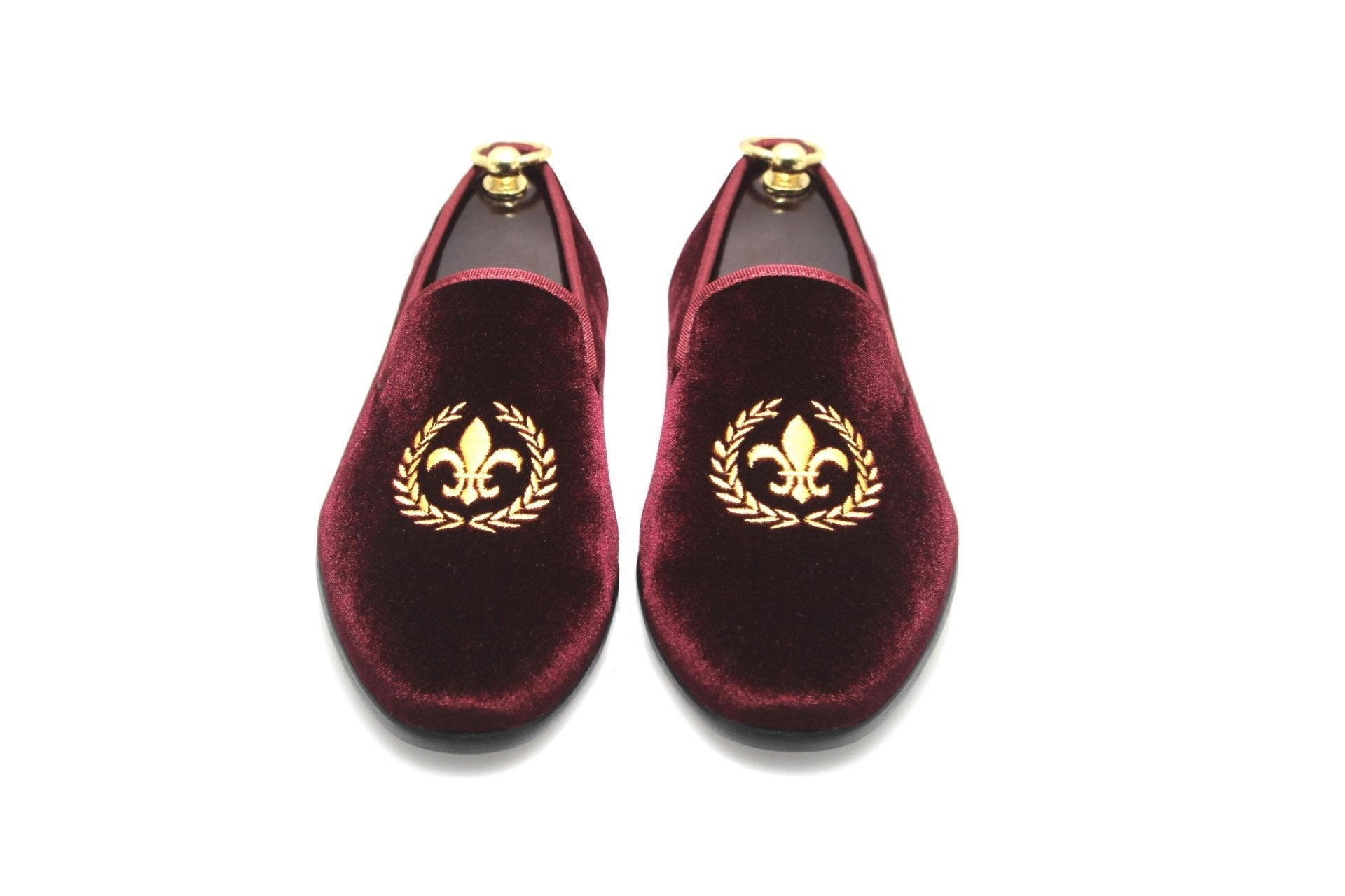 Smythe & Digby Men's Albert Slippers Fleur de Lis Embroidered Burgundy Velvet Loafers