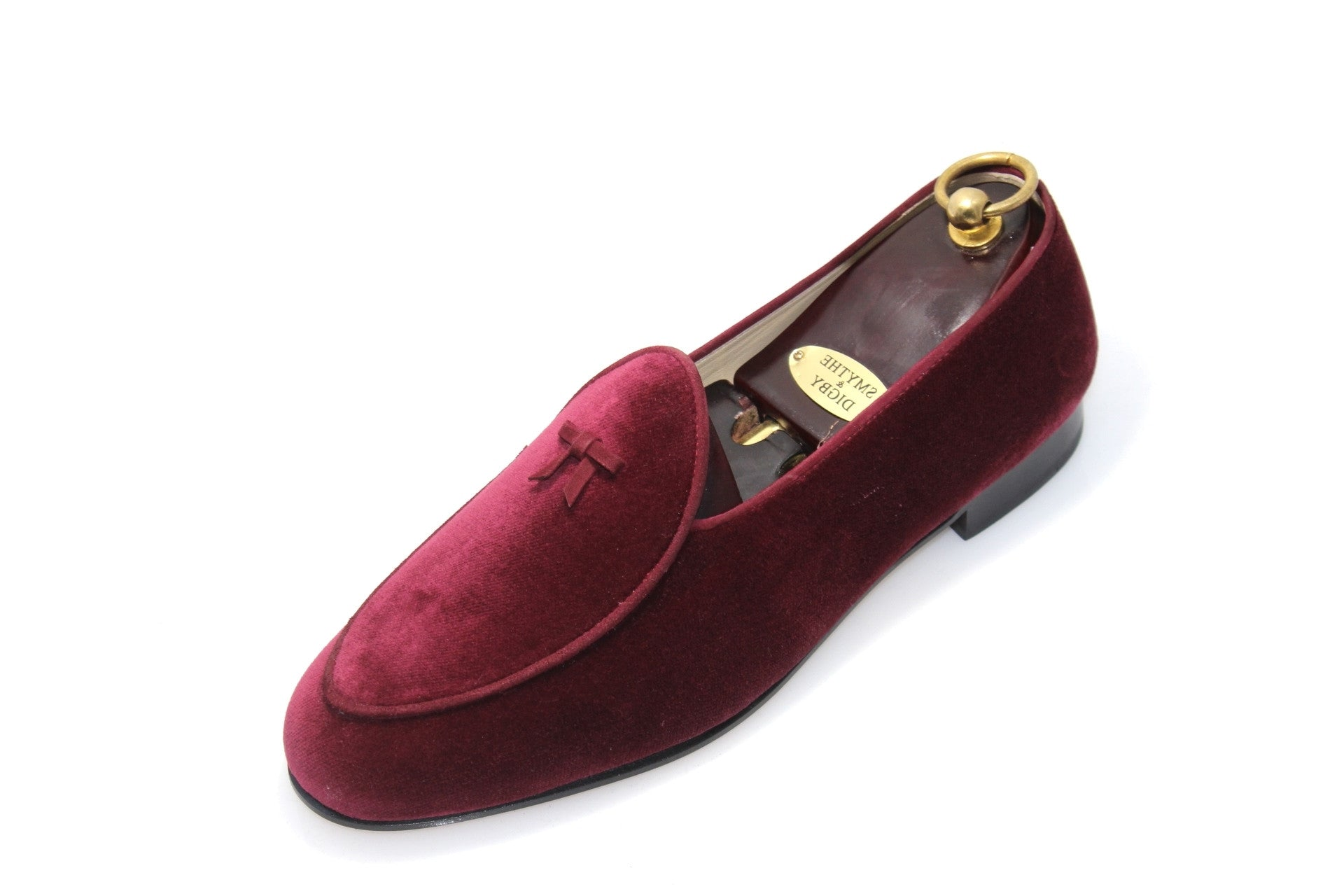 Smythe & Digby Custom Grade Men's Belgian Slipper Wine Burgundy Velvet Loafer