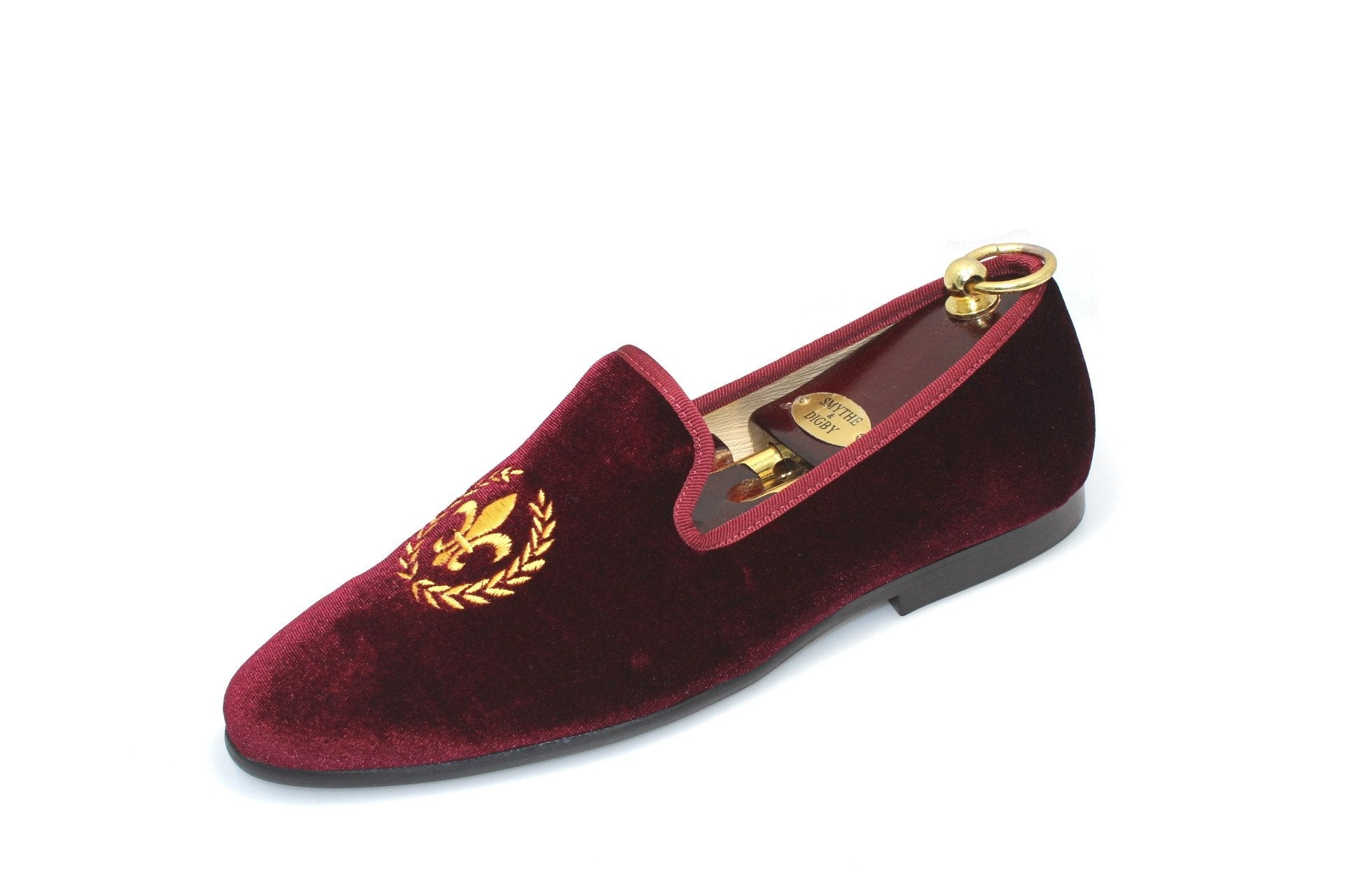 f7908f8ee112c Smythe & Digby Men's Albert Slippers Fleur de Lis Embroidered Burgundy  Velvet Loafers