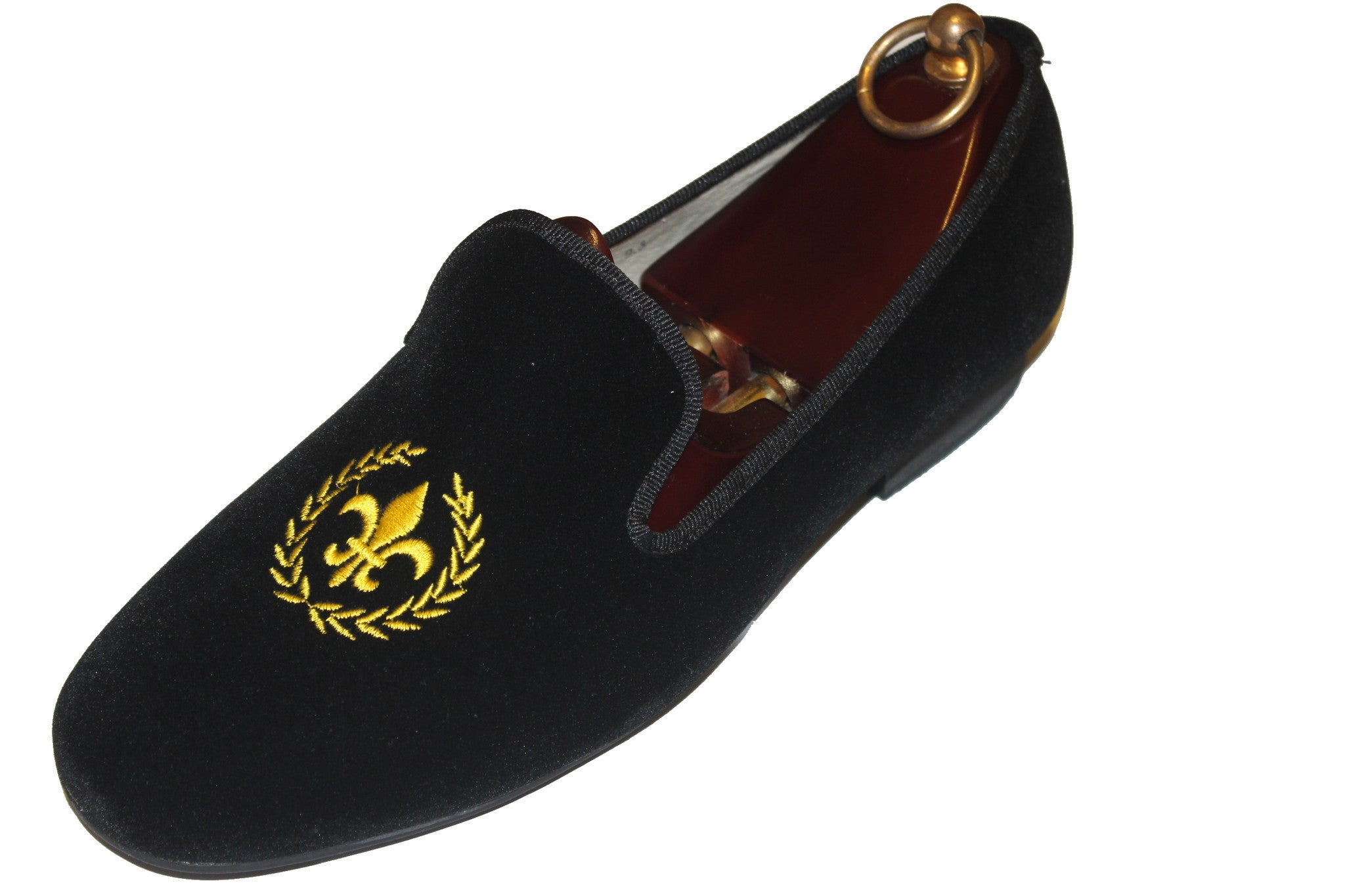 "Embroidered Black Velvet Loafers ""Fleur De Lis "" Motif"