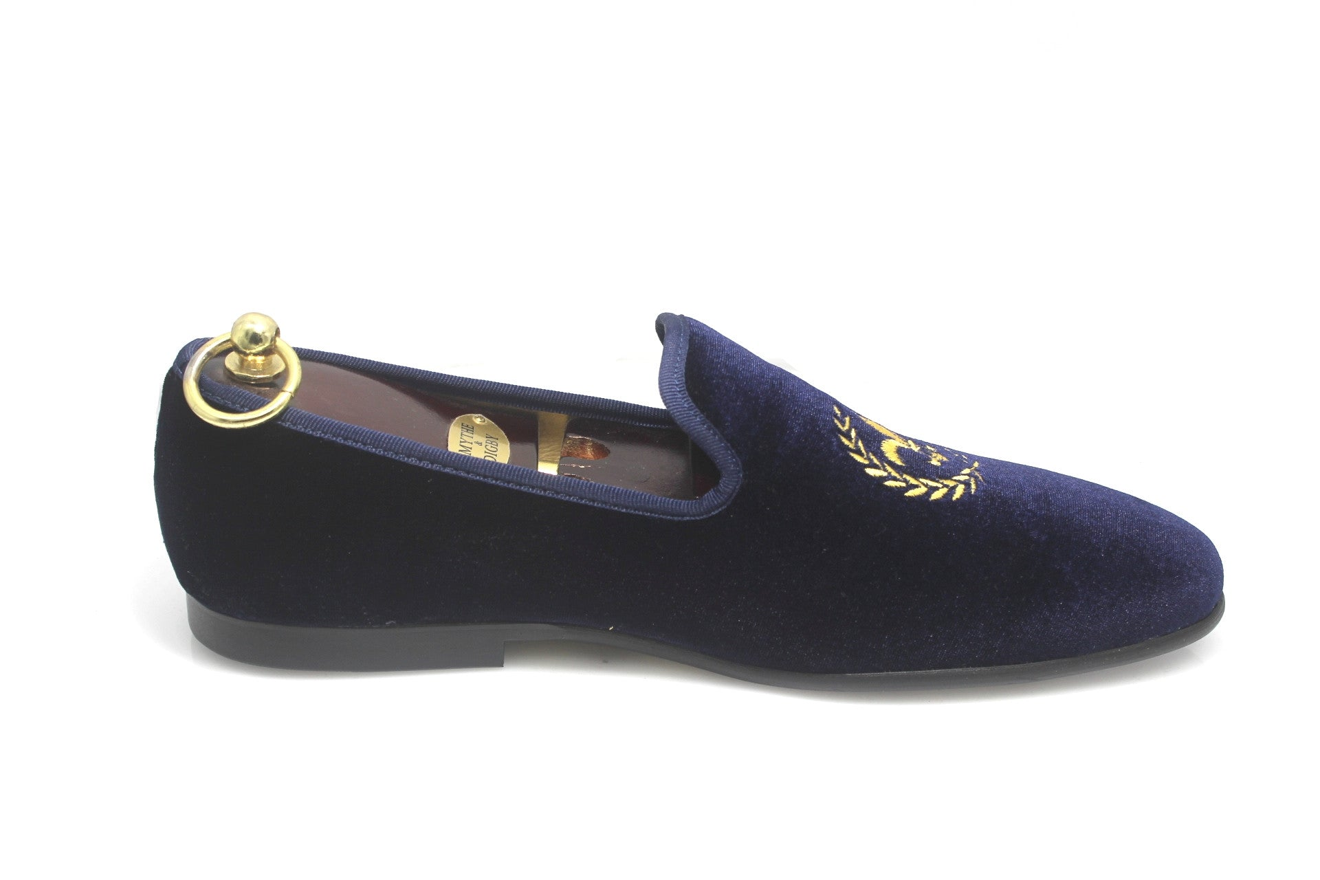 Navy Blue Men's Albert Slipper Leather Velvet Loafer Fleur De Lis Motif