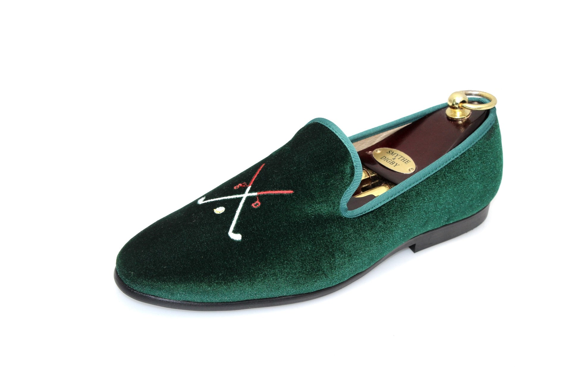 Smythe & Digby Men's Embroidered Velvet Slippers Golf Motif