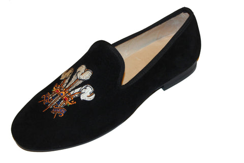 Men's Black Velvet Slippers Leather Albert Loafers Fleur De Lis 2